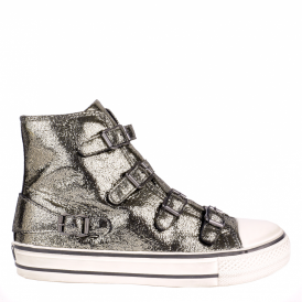VIRGIN Buckle Trainers Silver Glitter Coated Leather
