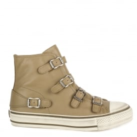 VIRGIN Buckle Trainers Taupe Leather