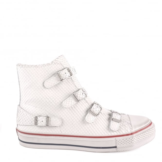 Ash VIRGIN Buckle Trainers White Python Textured Leather