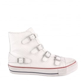 VIRGIN Buckle Trainers White Python Textured Leather