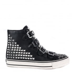 VIRTU Buckle Trainers Black Leather & Silver Studs