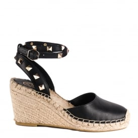 WHITNEY BIS Wedge Espadrilles Black Leather