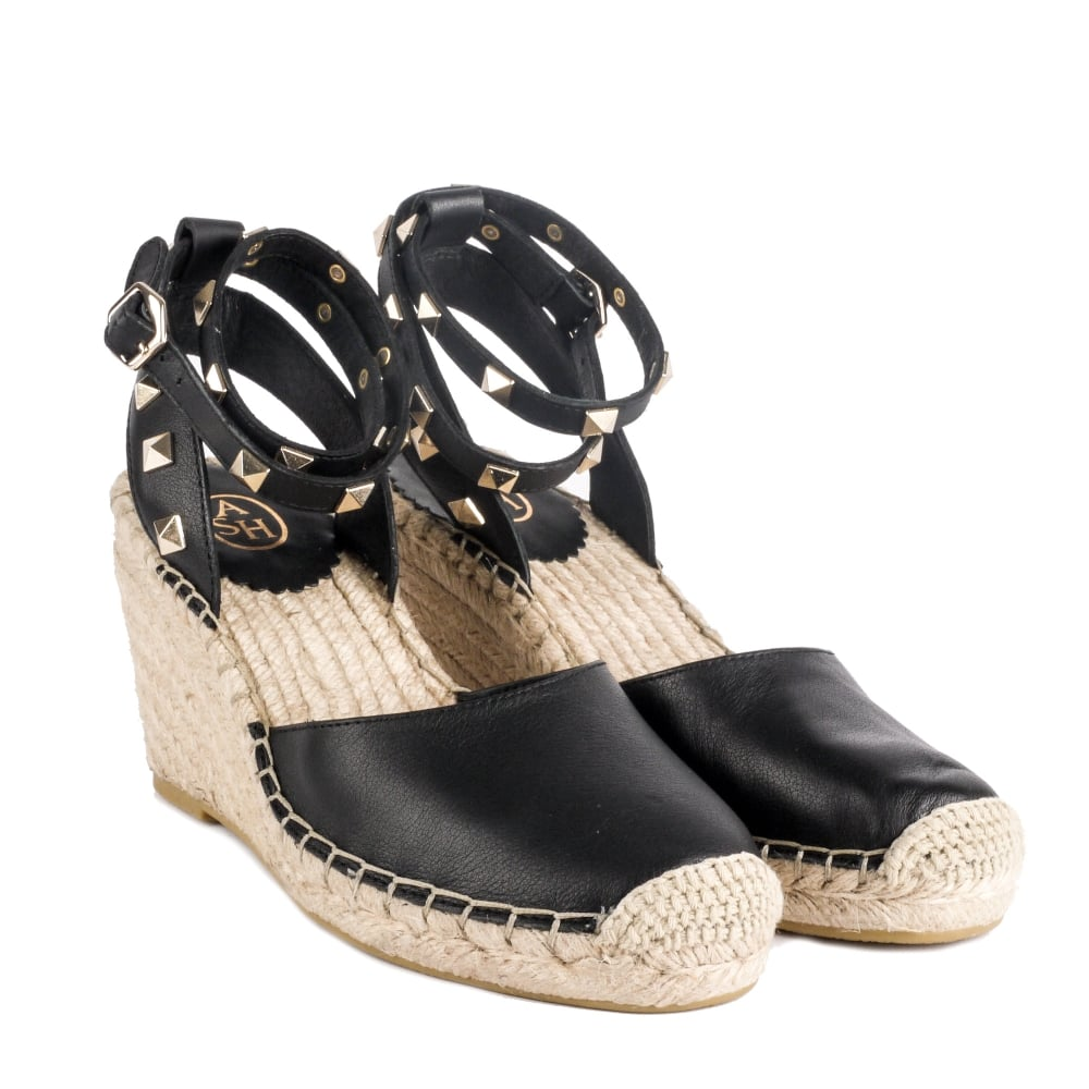 101b5884531 WHITNEY BIS Wedge Espadrilles Black Leather