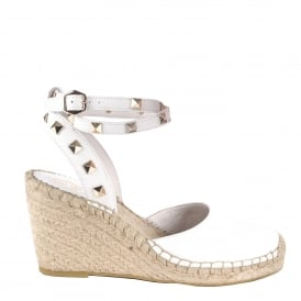 WHITNEY BIS Wedge Espadrilles White Leather