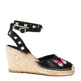 WHITNEY Wedge Espadrilles Black Leather With Butterfly Applique