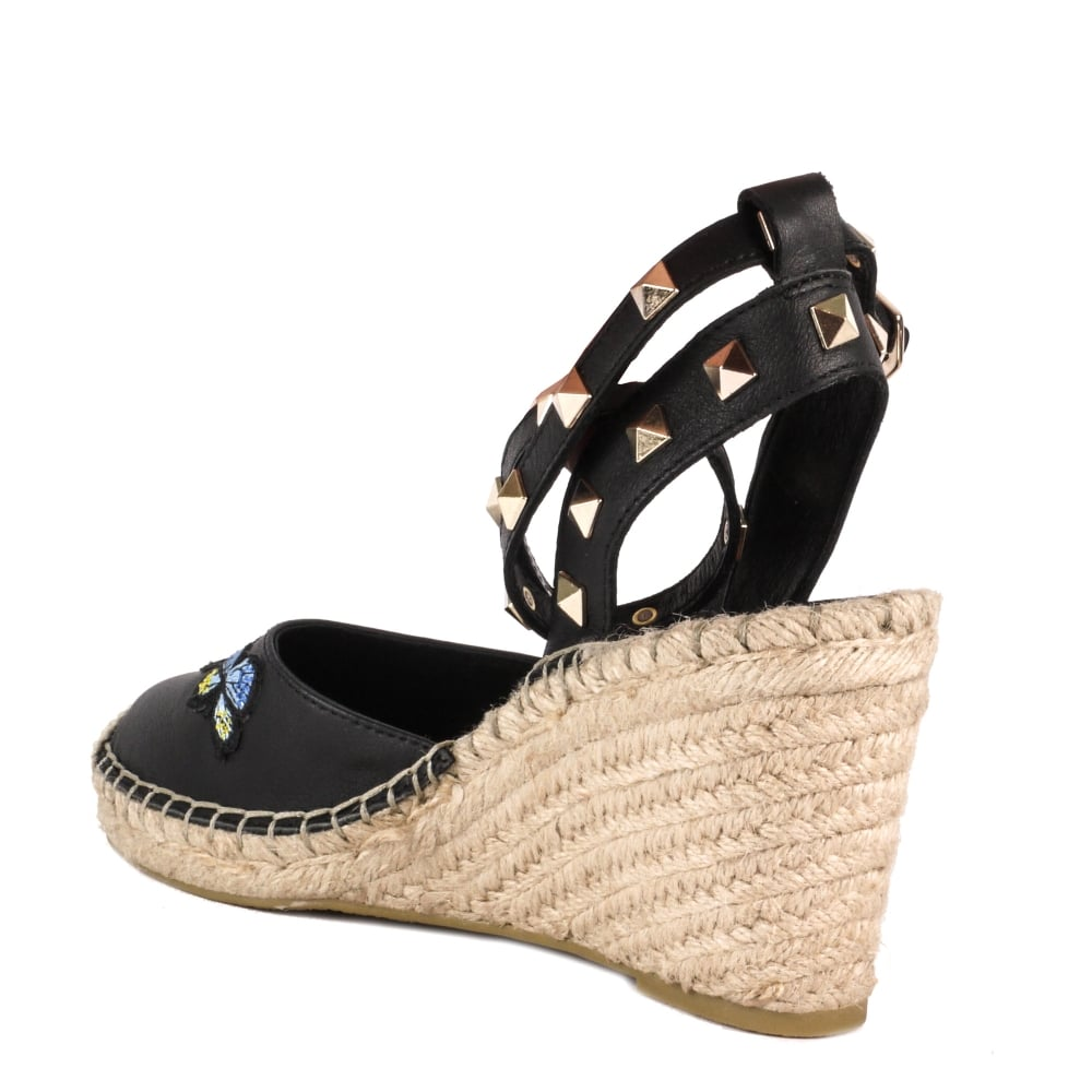 ced64951e5c WHITNEY Wedge Espadrilles Black Leather With Butterfly Applique