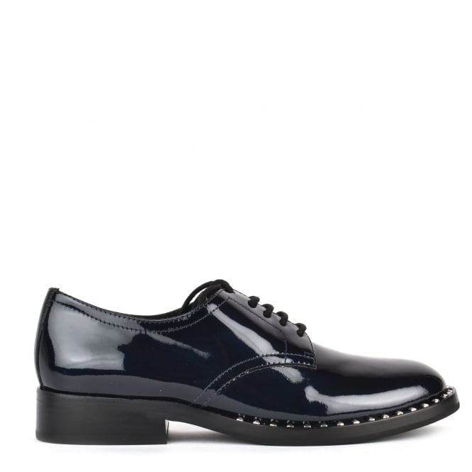 Ash WILCO Lace Up Shoes Midnight Blue Patent Leather