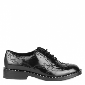 WING Studded Brogues Black Polished Leather