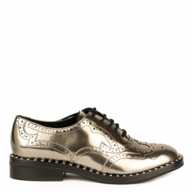 WING Studded Brogues Silver Polished Leather