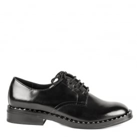 WONDER Lace Up Shoes Black Leather & Silver Studs