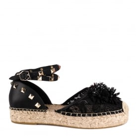 XAVIA Embellished Espadrilles Black Leather & Lace