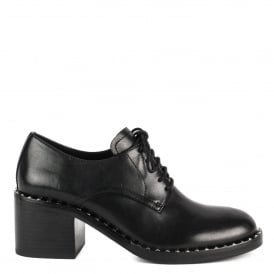 XENOS Block Heel Shoes Black Leather