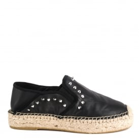 XIAO Slip On Espadrilles Black Leather