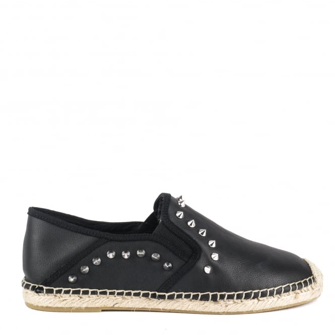 Ash ZABOU Studded Espadrilles Black Leather