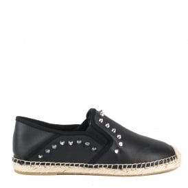 ZABOU Studded Espadrilles Black Leather