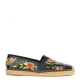 ZEN Espadrilles Black Leather & Floral Animal Print
