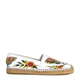 ZEN Espadrilles White Leather & Floral Animal Print