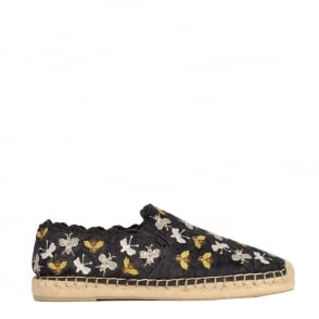Ash ZEPHIR Espadrilles Black Satin Lace With Embroidery