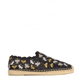 ZEPHIR Espadrilles Black Satin Lace With Embroidery