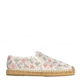 ZEPHIR Espadrilles White Marble Satin Lace With Embroidery