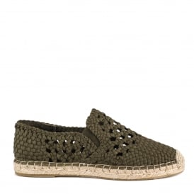 ZERIA Espadrilles Woven Army Green Canvas