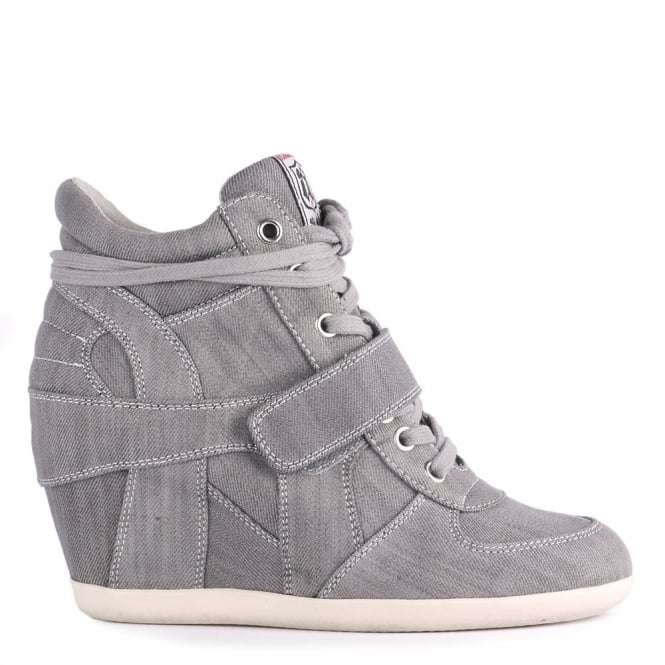 Ash BOWIE Hi-Top Wedge Trainers Grey Washed Denim