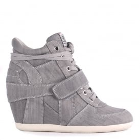 BOWIE Hi-Top Wedge Trainers Grey Washed Denim