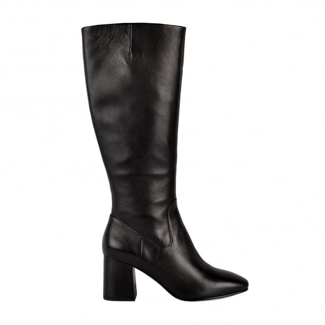 Ash HASHLEY Knee High Flared Heel Boots Black Leather