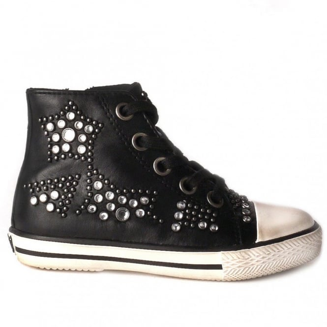 Ash Kid's FLASH Studded Trainers Black Leather