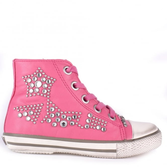 Ash Kid's FLASH Studded Trainers Bubblegum Pink Leather