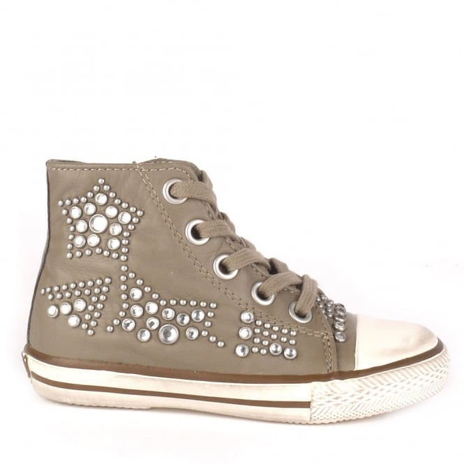 Ash Kid's FLASH Studded Trainers Perkish Leather