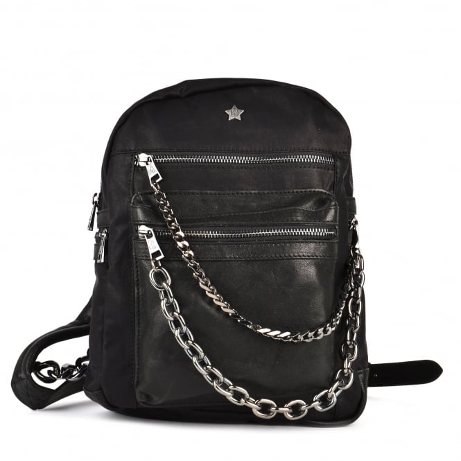 Ash KYLIE Backpack Washed Black Leather & Gun Metal Chain