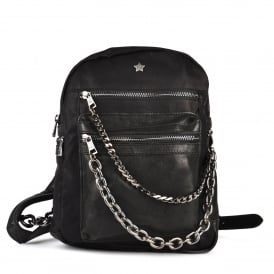 KYLIE Backpack Washed Black Leather & Gun Metal Chain