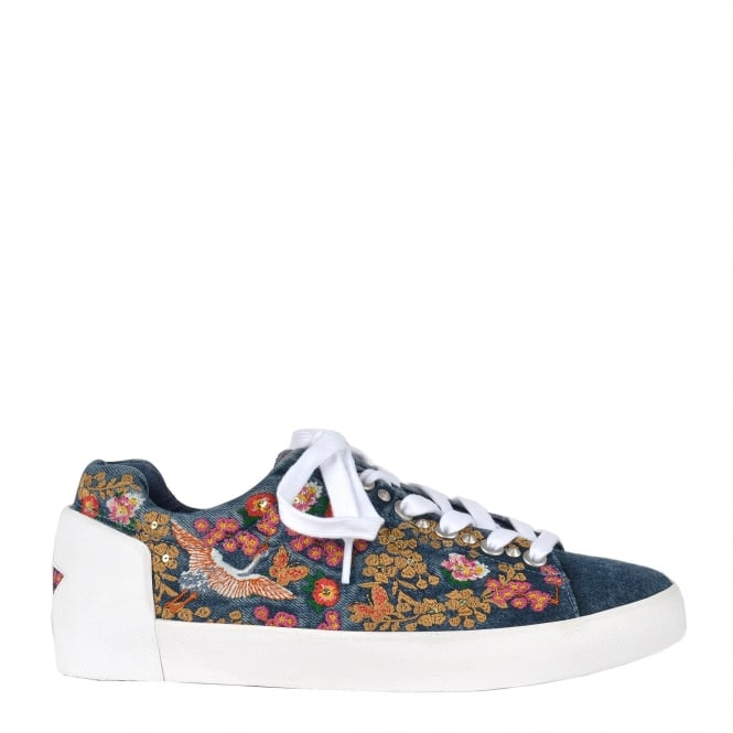 Ash NIPPON Embroidered Trainers Washed Blue Denim