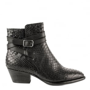 Ash LOIS Boots Black Python Textured Leather