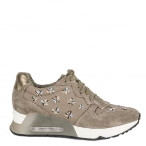 Ash LOVE RETE Embroidered Trainers Taupe Suede