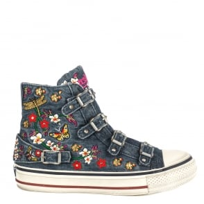 Ash VIRTU Buckle Trainers Embroidered Blue Denim