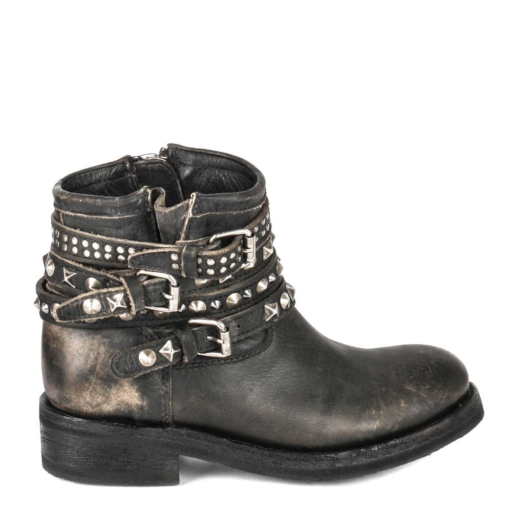 ecf384148d TATUM Biker Boots Washed Black Leather & Tarnished Studs