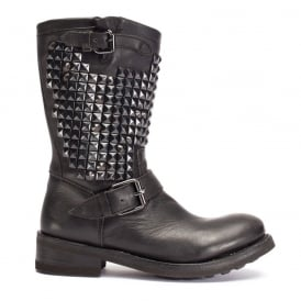 TRASH BIS Biker Boots Black Leather & Studs