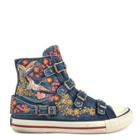 VIVI Rustic Buckle Trainers In Embroidered Washed Blue Denim